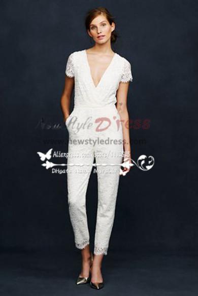 Lace V-neck bridal jumpsuit wedding dresses Women