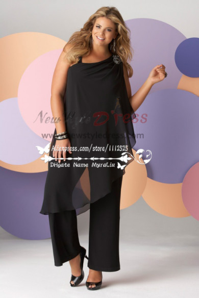 Glamorous Plus Size Black chiffon pant suits for mother of the bride