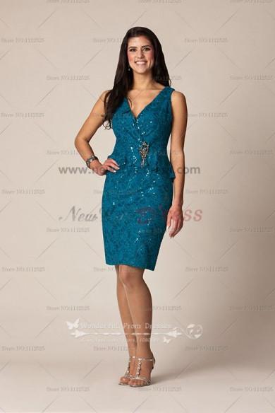 V-neck blatic lace Short Elegant mother the of bride dress cms-044