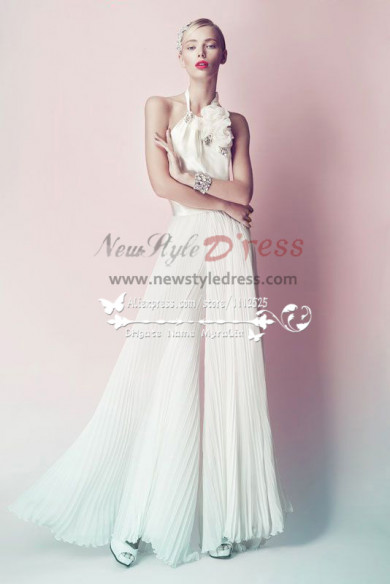 Charming chiffon bridal jumpsuit for beach wedding Custom made wps-034