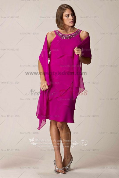 fushia Chiffon Multilayer mother of the bride dress with shawl cms-046