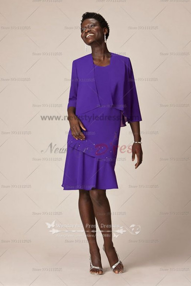 purple Chiffon Knee-Length grandmother of the bride outfits jacket and dress cms-055