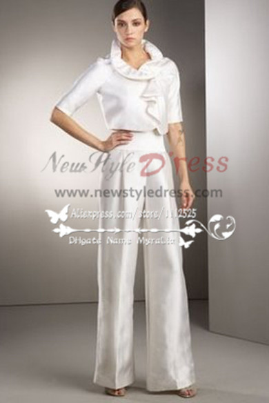 White Taffeta bridal pantsuit dresses for spring wedding wps-042