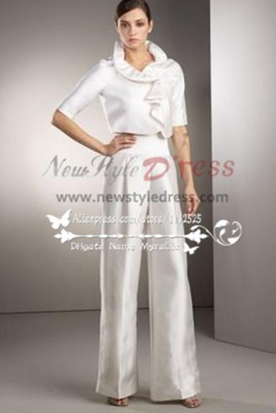 White Taffeta bridal pantsuit dresses for spring wedding wps-042