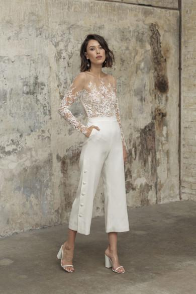 Elegant Lace Wedding Jumpsuits Mid-Calf Bride Jumpsuits wps-238