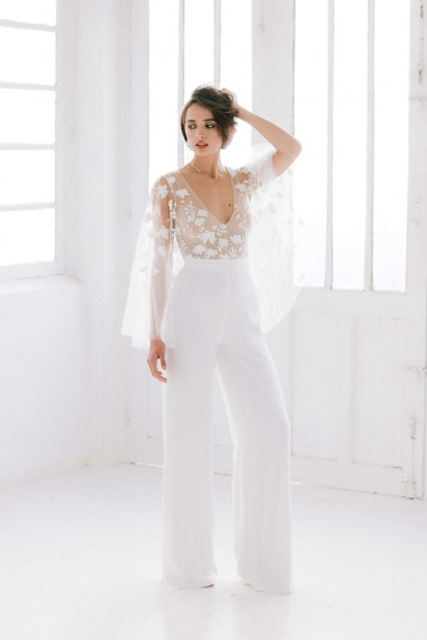 Fashion Lace Disassemble V-neck Wedding Jumpsuit wps-205