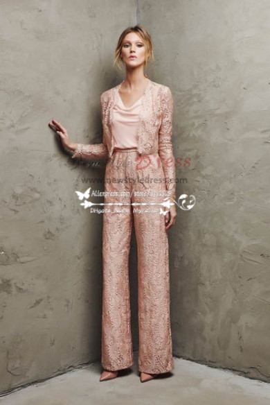 Elegant Pink lace pant sutis for mother of bride 2018 new style