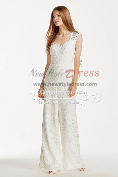 Charming Elegant lace bridal jumpsuit Spring wedding  dresses wps-085