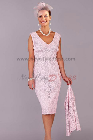 Pink Hot Sale V-Neck Glamorous lace Mother of the bride dress cms-033