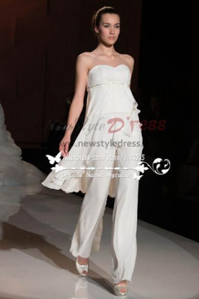 Sweetheart chiffon Empire wedding jumpsuit dresses wps-074