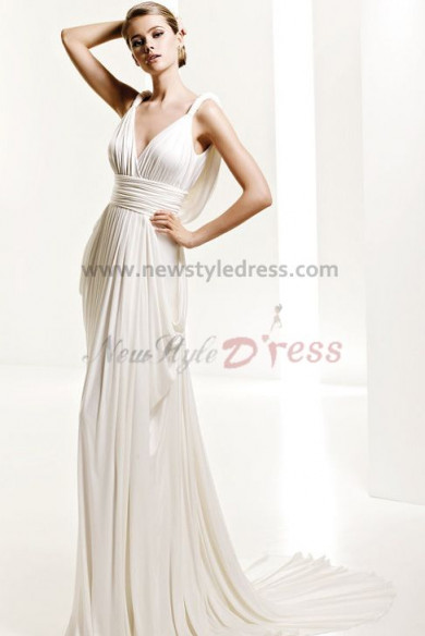 Hot Sale Deep V-Neck Empire Elegant Chiffon Ivory Beach Wedding Dress nw-0283