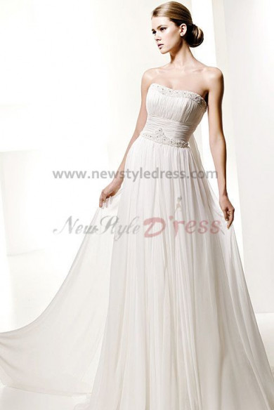 Strapless Glamorous Chiffon Beading Beach Wedding Dress nw-0285