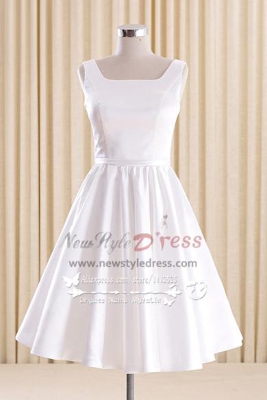White A-line Satin Homecoming dresses Knee-Length bridesmaid dress