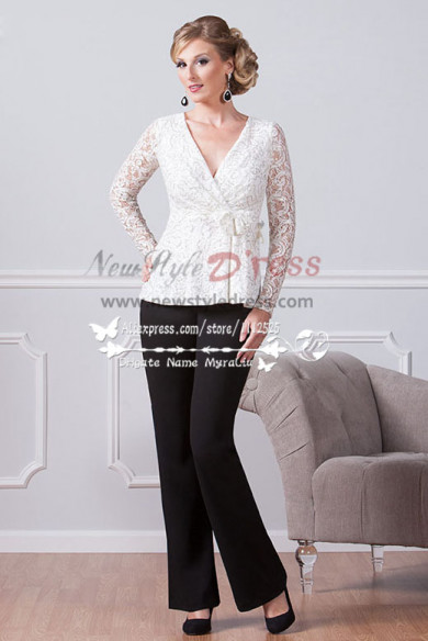 Spring Fashion mother of the bride pant suits black trousers and white lace blouse Custom-made nmo-218