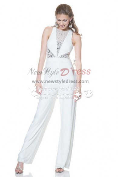 White wedding jumpsuit with crystals Custom made Red chiffon bridal pants wps-043