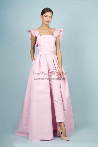 Pink Satin Bridal Jumpsuits Spring Wedding Pants Dresses With Detachable Train wp-145
