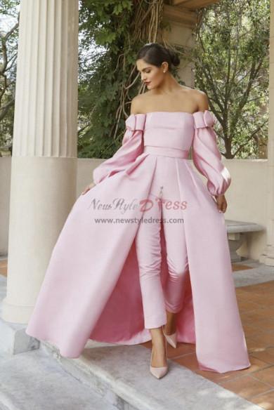 Satin Bridal Jumpsuit Pink Prom Gown Detachable Train wps-156