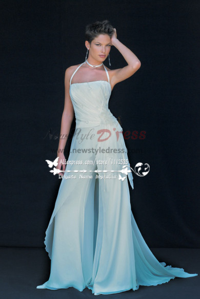 Beach wedding wear White chiffon bridal jumpsuit Low price wps-037