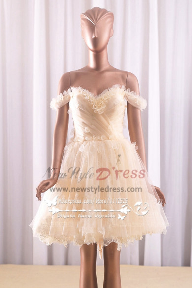 Homecoming dresses Champagne Portait prom dress with flowers