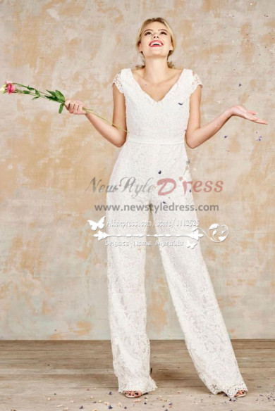 Lace bridal jumpsuits full length wedding dresses wps-067