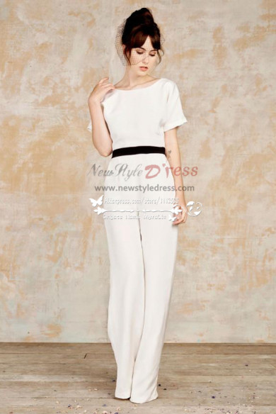White bridal jumpsuits with black belt wps-098