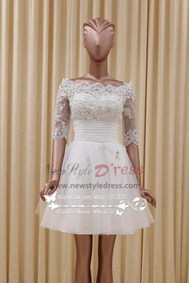 Homecoming dress Bateau white lace A-line short skirt