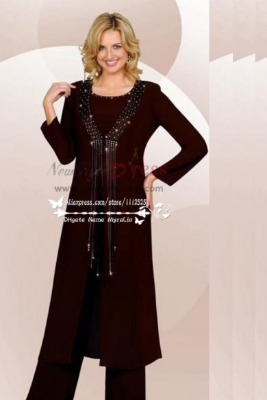 Plus size Classic dark navy chiffon mother of the birde pant suits with long jacket 3 piece dress for wedding