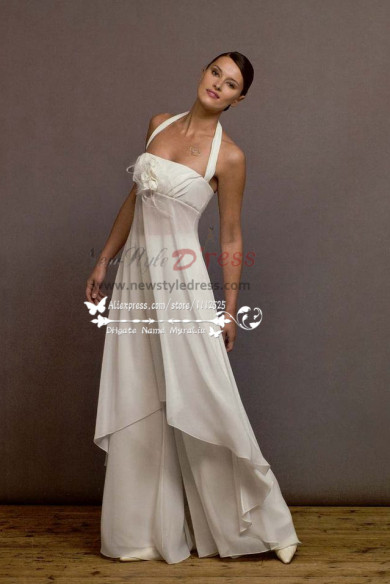 White Chiffon jumpsuit dress for beach wedding wps-040