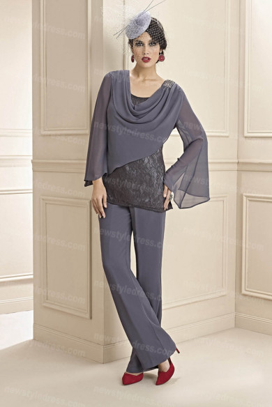 Charcoal Gray Pants suit for mother of the bride Special occasion nmo-679