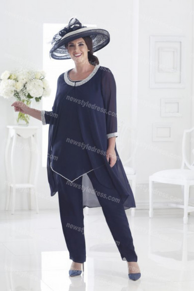 Dark Navy chiffon Mother of the bride pants suits women