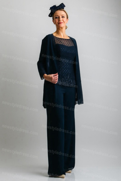 Dark navy Elegant Mother of the bride Trousers outfit 3PC Women