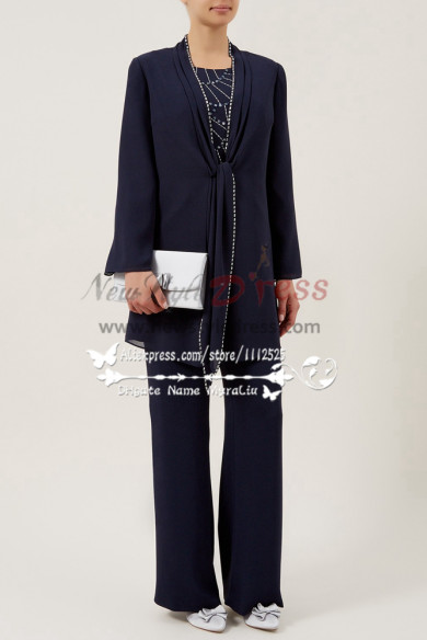 Elegant Mother of the bride chiffon pants suit Dark navy 3PC outfit nmo-278
