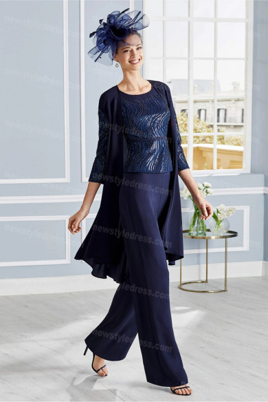 Dark Navy Mother of the bride Trousers set 3PC delicate beaded pants suits nmo-685
