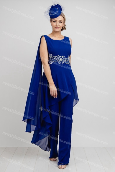 Royal Blue Chiffon Mother of the bride outfits women