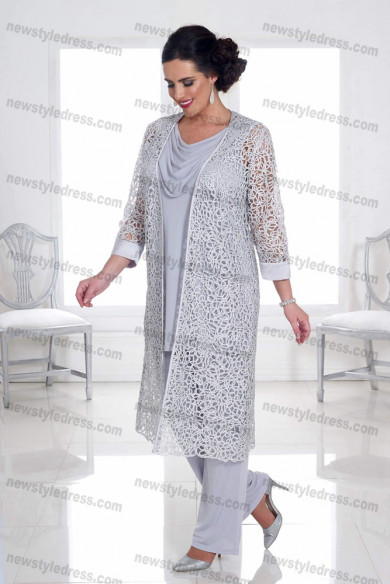 Plus size 3 PC Gray lace Mother of the bride pants suits with jacket Trousers Women