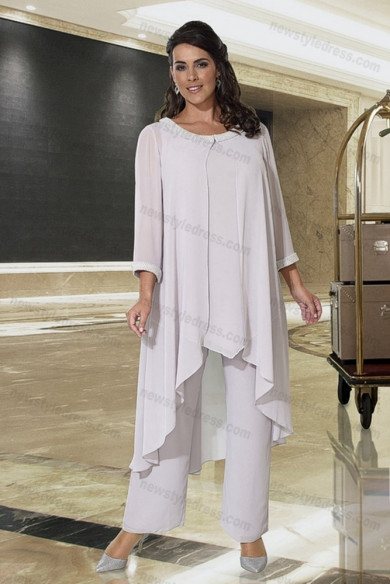 Plus size Mother of the bride pants suits 3PC Trousers setsnmo-693