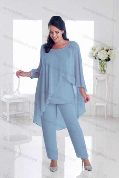 Plus size Mother of the bride pants suits Overlay cornflower blue nmo-695
