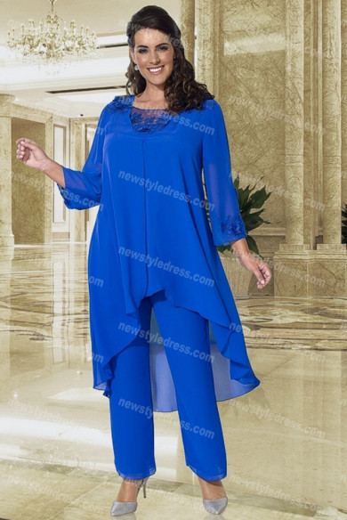 Royal blue Mother of the bride Pantsuits Elastic waist 3PC Trousers suits nmo-697