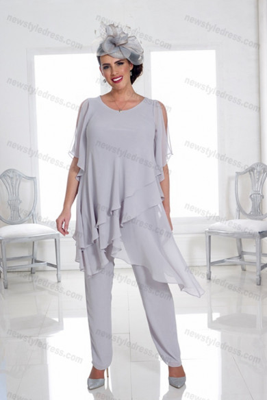 Silver Gray chiffon Mother of the bride pants suits under $100 women