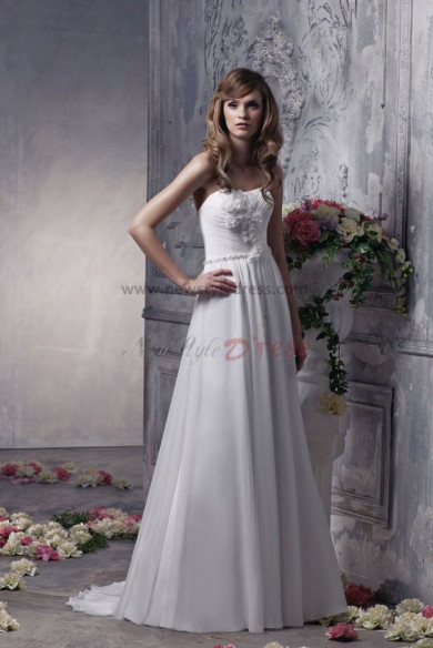 Empire Elegant Chiffon Sweep Train Spring Beach Wedding Dress nw-0301