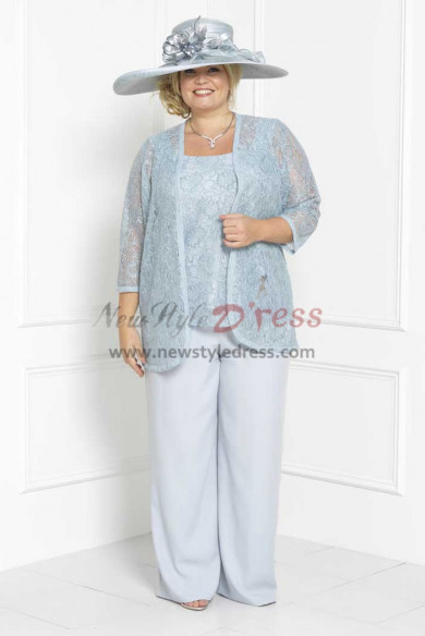 Plus size Lace Three piece Mother of the bride pant suits dress