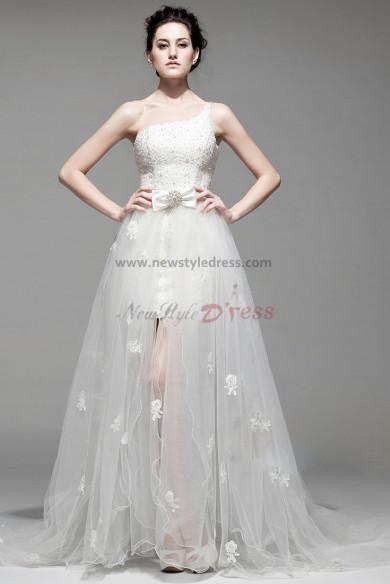 disassemble One Shoulder beading Lace Sheath Ivory prom dresses nw-0159