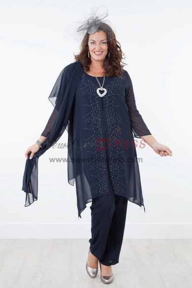 2019 NEW ARRIVAL Dark Navy Mother of the bride dresses with shawl Chiffon outfit