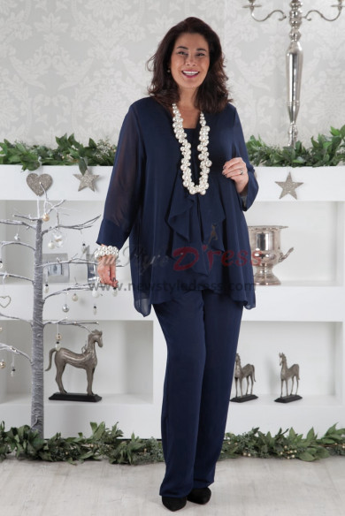 New arrival Dark Navy Chiffon Comfortable Mother of the Bride Dresses pant suit for wedding party