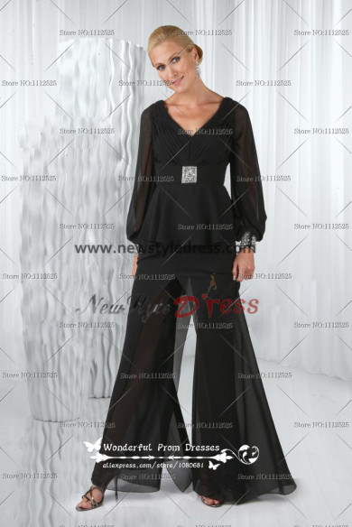 Latest Fashion Black Deep V-Neck Glamorous Long Sleeves Mother Of The Bride Pants Suit nmo-125
