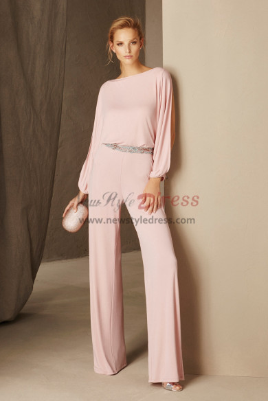 Women Jumpsuits for Wedding party Cocktail pants dresses with Beaded belt Pink nmo-524