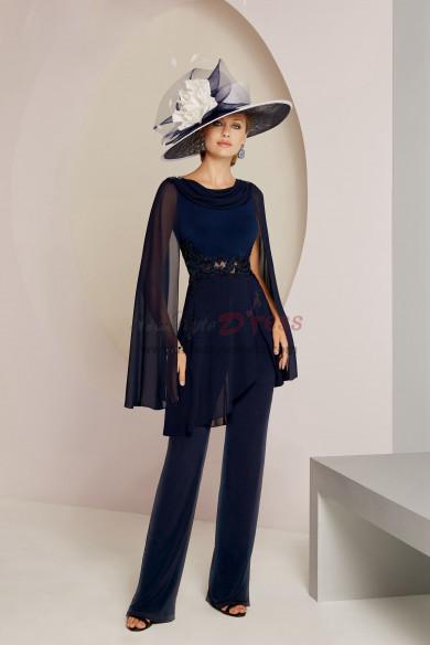 Fashion Women Navy Chiffon Trousers suit Mother of the bride pantsuit dresses nmo-540