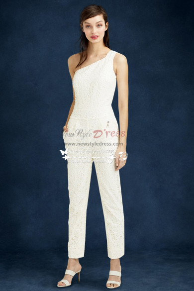 Beautiful One Shoulder Lace wedding jumpsuit wps-097