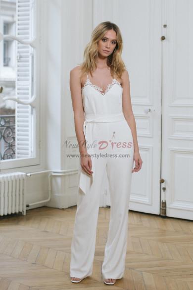 Spaghetti Chiffon Bridal Jumpsuit Lace edge Beach Wedding Dresses wps-159