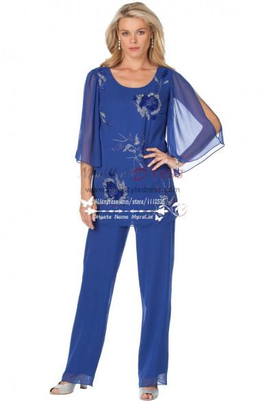 Royal Blue  mother of the bride pants suit have a elastic waist nmo-186